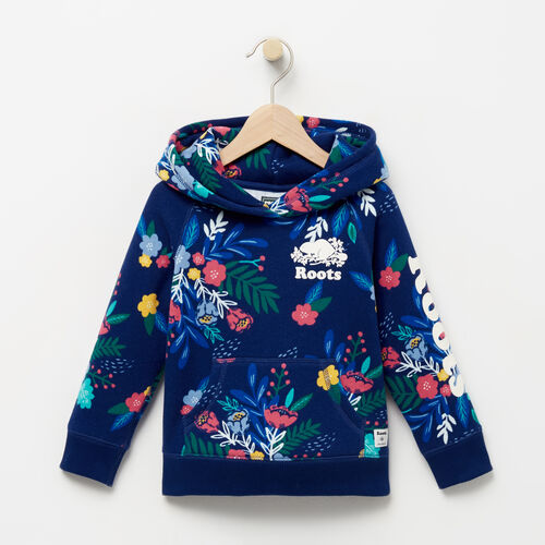 Roots-Kids Tops-Toddler Roots Remix Floral Hoody-Blue Depths-A