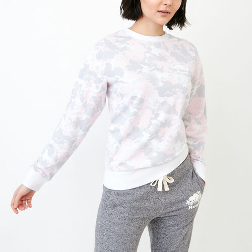 Roots-Women Categories-Kelowna Floral Crew Sweatshirt-Washed Pink Camo-A