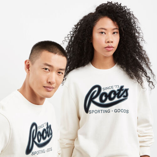 Roots-New For May Women-Roots Sporting Goods Crew Sweatshirt-Pristine White-A