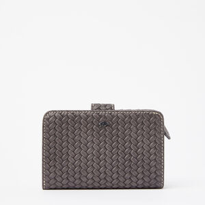 Roots-Leather Wallets-Bridget Wallet Woven-Charcoal-A