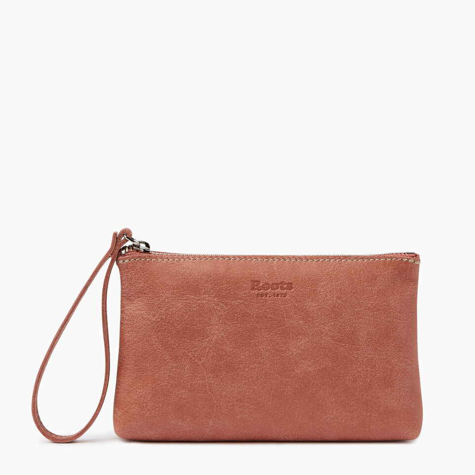 Roots-Leather Our Favourite New Arrivals-Wristlet Pouch-Canyon Rose-A