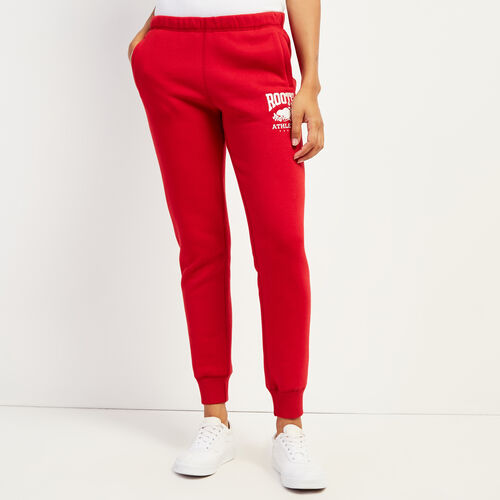 Roots-Women Slim Sweatpants-RBA Slim Cuff Sweatpant-Cabin Red-A