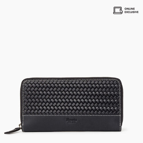 Roots-Leather Wallets-Zip Around Clutch Woven-Jet Black-A