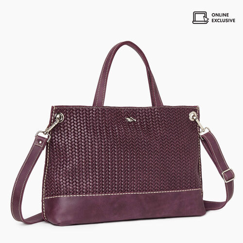 Roots-Leather New Arrivals-Edie Tote Woven-Deep Purple-A