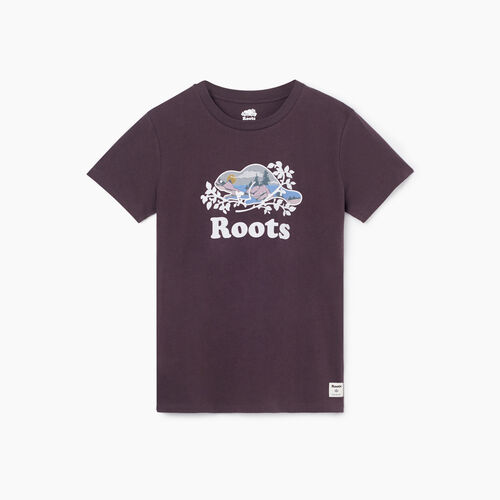 Roots-Women Graphic T-shirts-Womens Scenic Cooper Beaver T-shirt-Shale-A