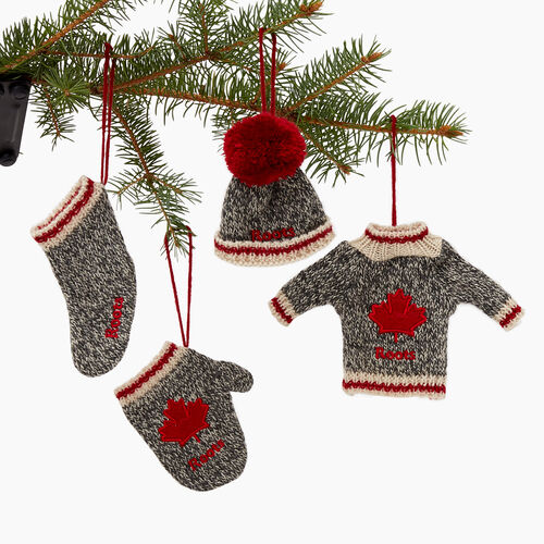 Roots-Women Our Favourite New Arrivals-Roots Cabin Ornaments 4 Piece Set-Grey Oat Mix-A