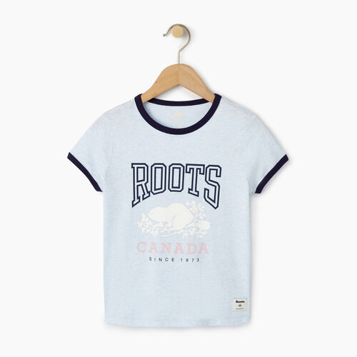 Roots-Kids T-shirts-Girls Roots Classic Ringer T-shirt-Baby Blue Mix-A