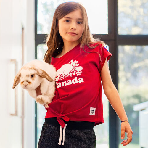 Roots-Kids New Arrivals-Girls Canada Tie T-shirt-Sage Red-A