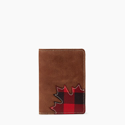 Roots-Leather Tech & Travel-Park Plaid Passport Holder-Natural-A