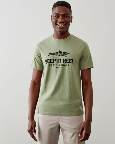 Roots-Men Tops-Mens Keep It Reel T-shirt-Washed Olive-A