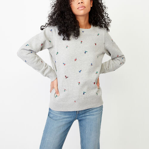 Roots-Women Our Favourite New Arrivals-Skier Crew Sweatshirt-Grey Mix-A