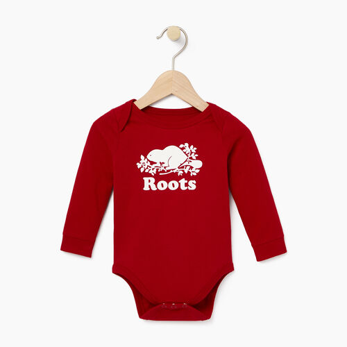 Roots-Kids Baby-Baby Cooper Beaver Bodysuit-Cabin Red-A