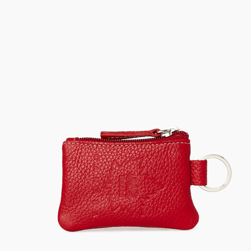 Roots-Men Leather Accessories-Heritage Canada Top Zip Pouch-Canadian Red-A