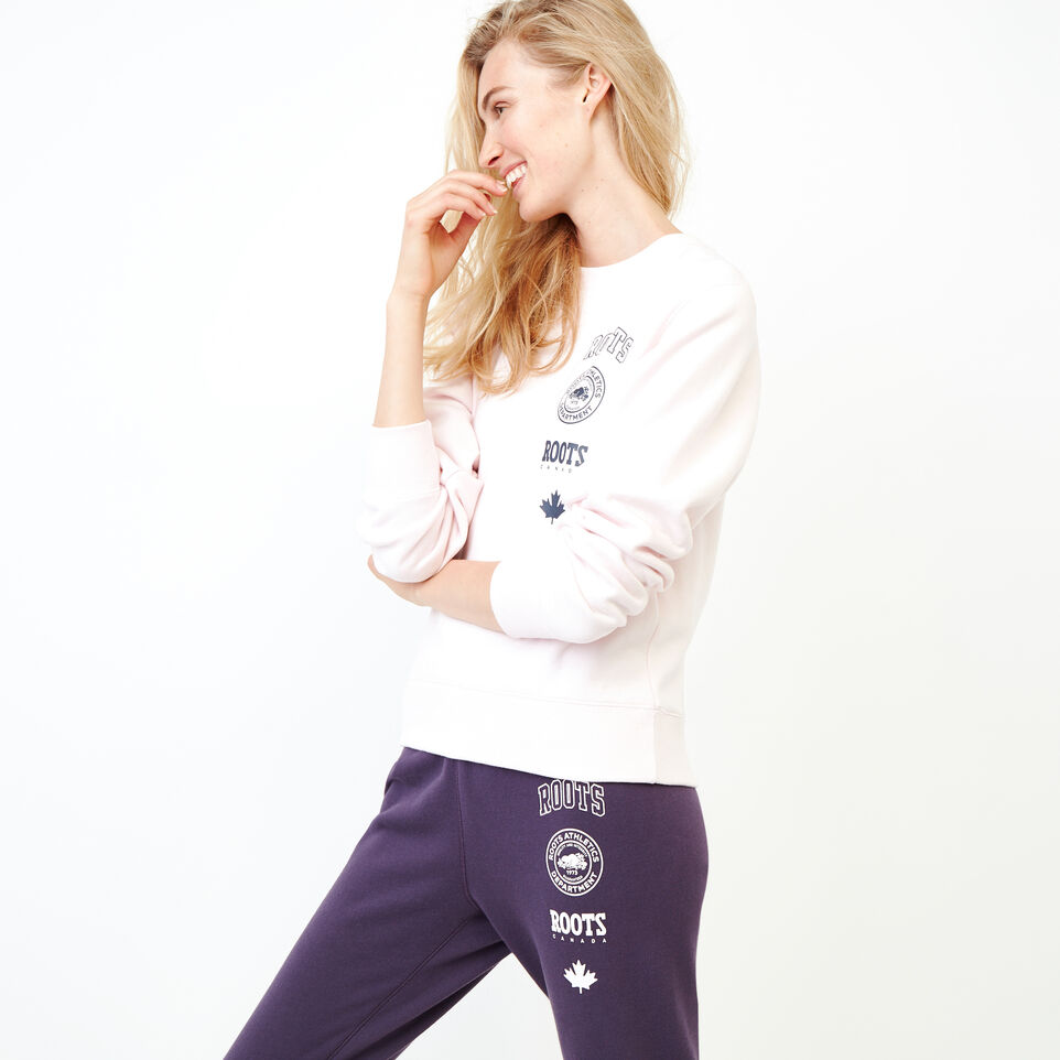 Roots-Women Our Favourite New Arrivals-Stamps Crew Sweatshirt-Cradle Pink-C
