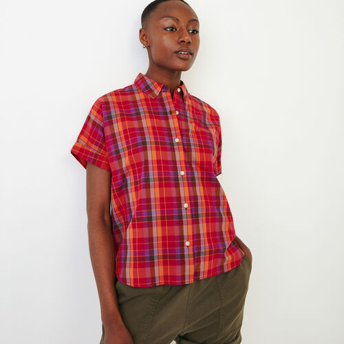 Roots-New For June Plaids-Alder Flat Madras Shirt-Raspberry Rose-A