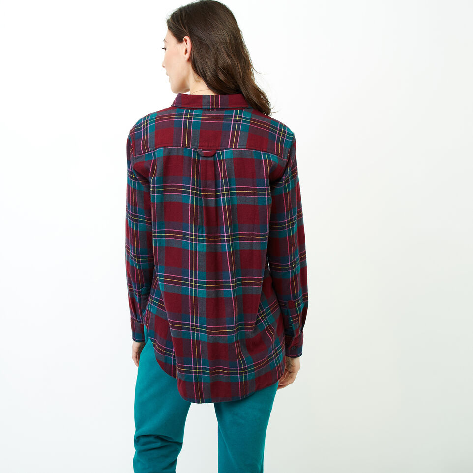 Roots-Women Clothing-Relaxed Flannel Shirt-Crimson Mix-D