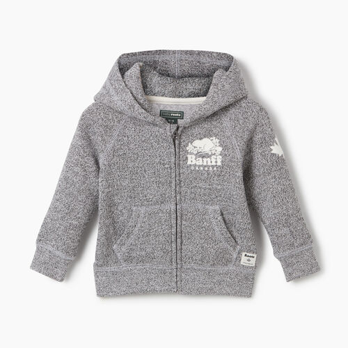 Roots-New For May City Collection-Baby Boy Banff Ski City Full Zip Hoody-Salt & Pepper-A