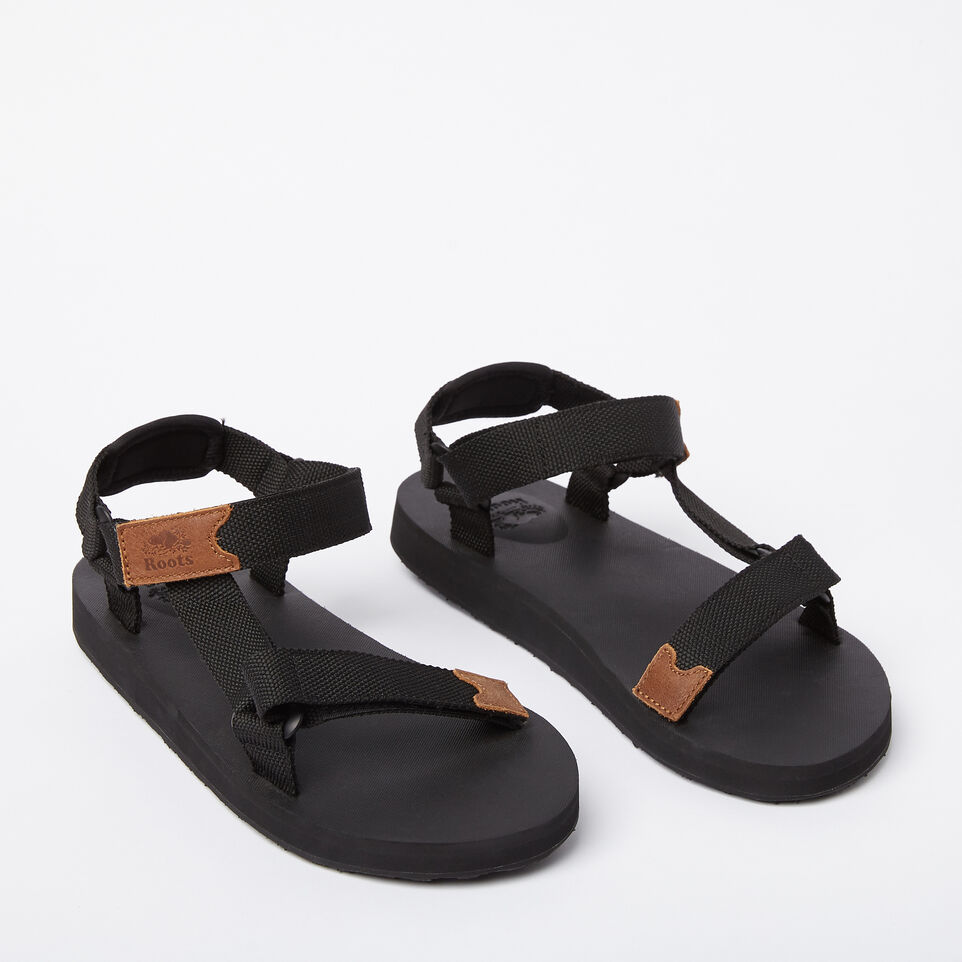 Roots-Clearance Footwear-Mens Tofino Sandal Web-Black-B