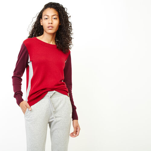 Roots-Women Tops-Colour Blocked Sweater-Tibetan Red-A