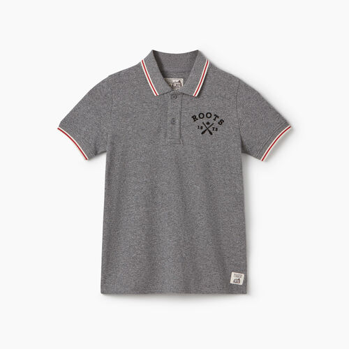 Roots-New For June Kids-Boys Cabin Polo-Salt & Pepper-A