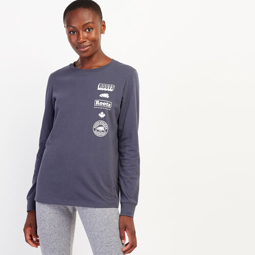 Roots-Women New Arrivals-Womens Stacked Long Sleeve T-Shirt-Ink-A