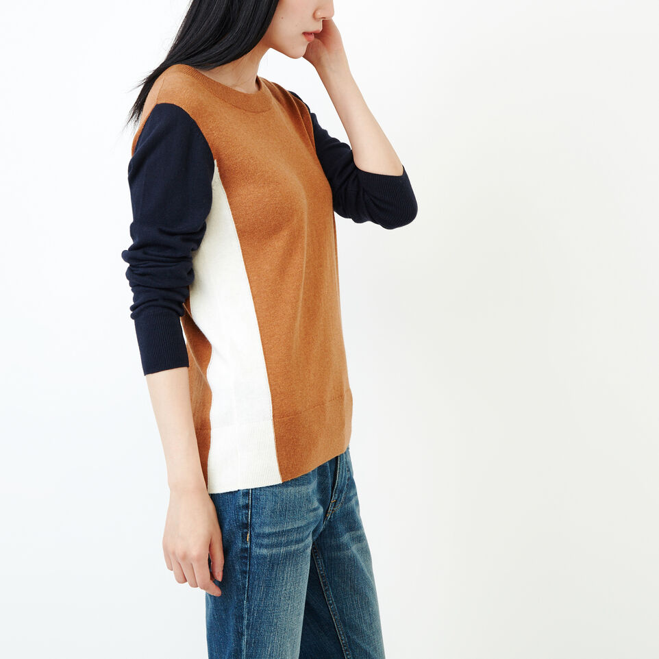 Roots-Women Categories-Colour Blocked Sweater-Brown Sugar-C
