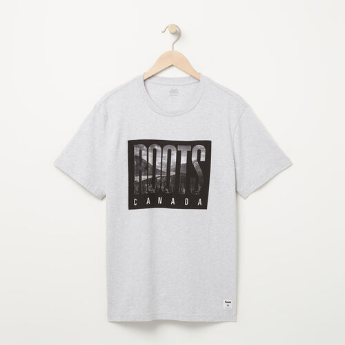 Roots-Men Graphic T-shirts-Mens Roots Eighties T-shirt-Snowy Ice Mix-A