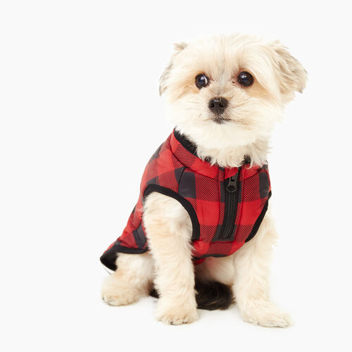 Roots-New For November Men-Pooch Park Plaid Puffer Size 12-Red-A