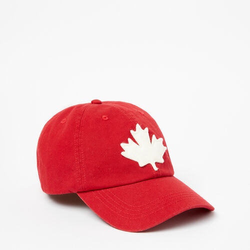 Roots-Women Categories-Canada Leaf Baseball Cap-Sage Red-A