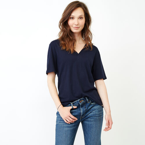 Roots-Women Short Sleeve Tops-Penny Top-Navy Blazer-A