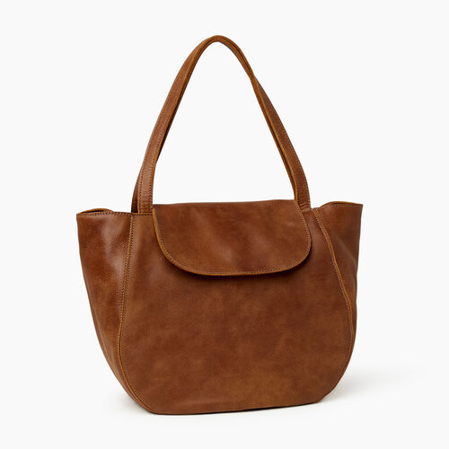 Roots-Leather  Handcrafted By Us Handbags-Lambert Tote-Natural-A