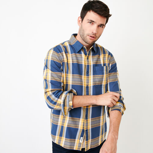 Roots-New For June Plaids-Parker Plaid Shirt-Sargasso Sea-A