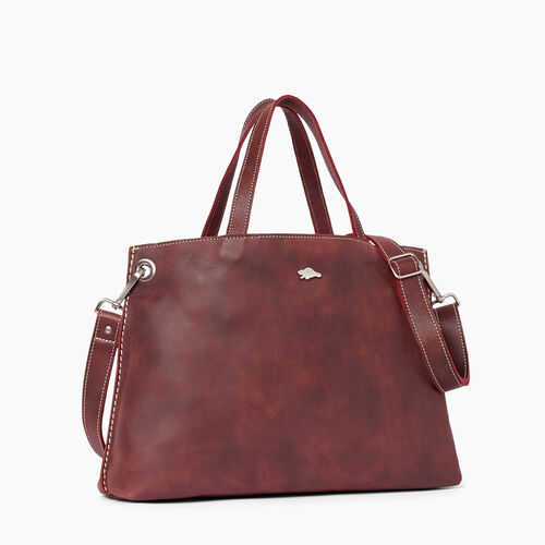 Roots-Women Bags-Edie Tote Tribe-Crimson-A