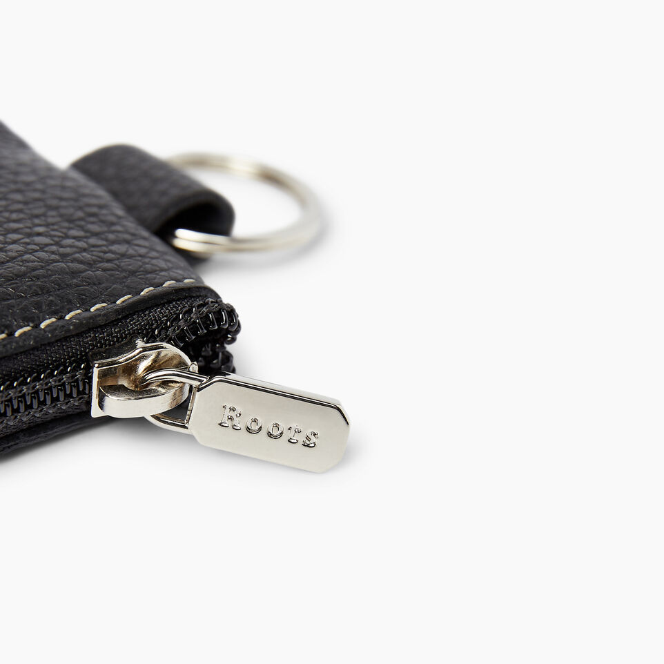 Roots-Women Leather Accessories-Top Zip Key Pouch-Black-C