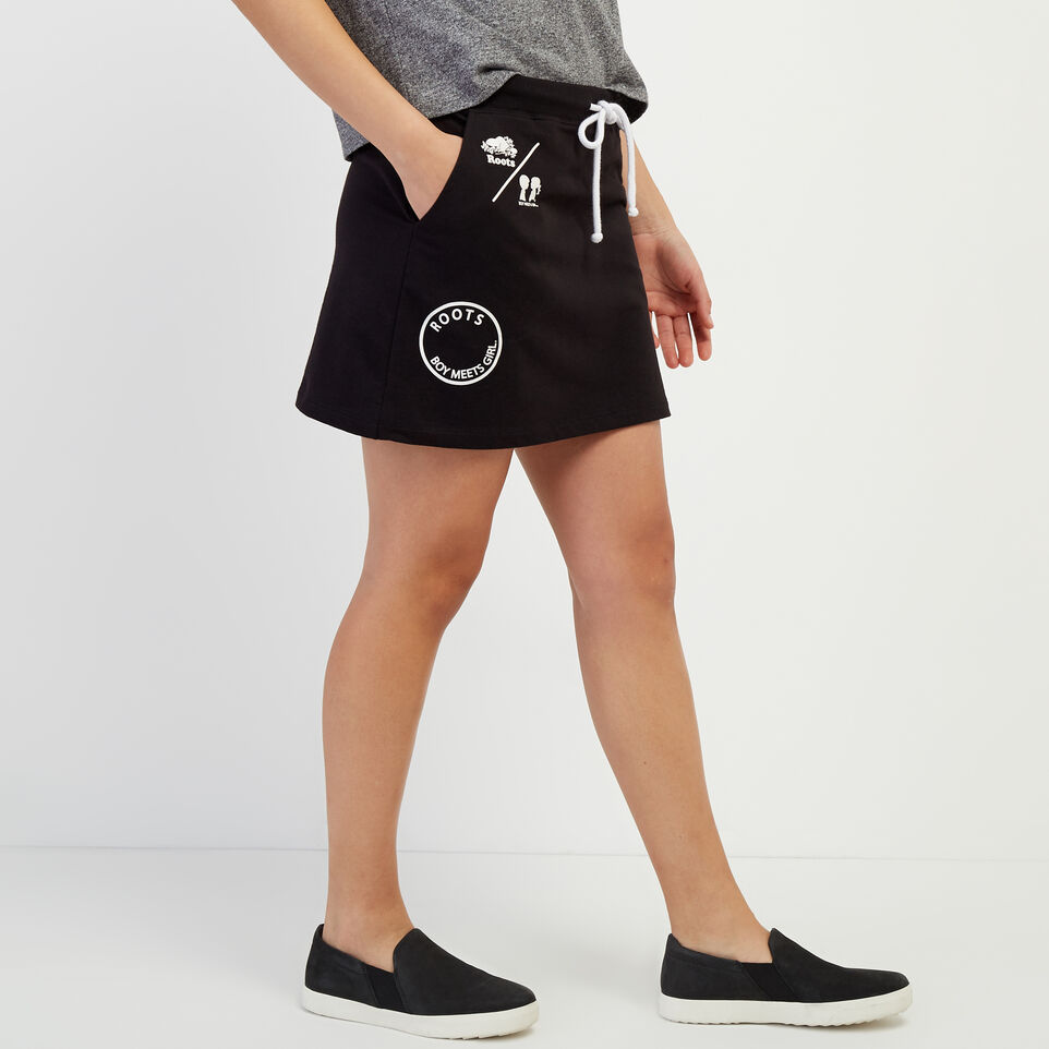Roots-New For April Roots X Boy Meets Girl-Roots x Boy Meets Girl - Community Skirt-Black-C
