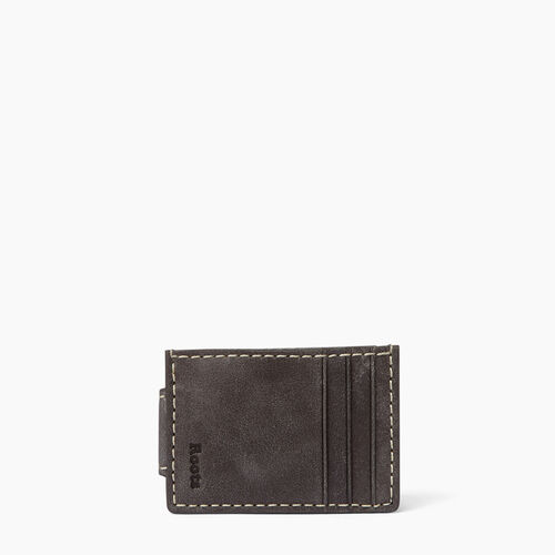 Roots-Men Wallets-Money Clip With Slots-Charcoal-A