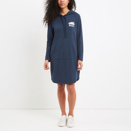 Roots-Women Sweats-Hooded French Terry Dress-Cascade Blue-A