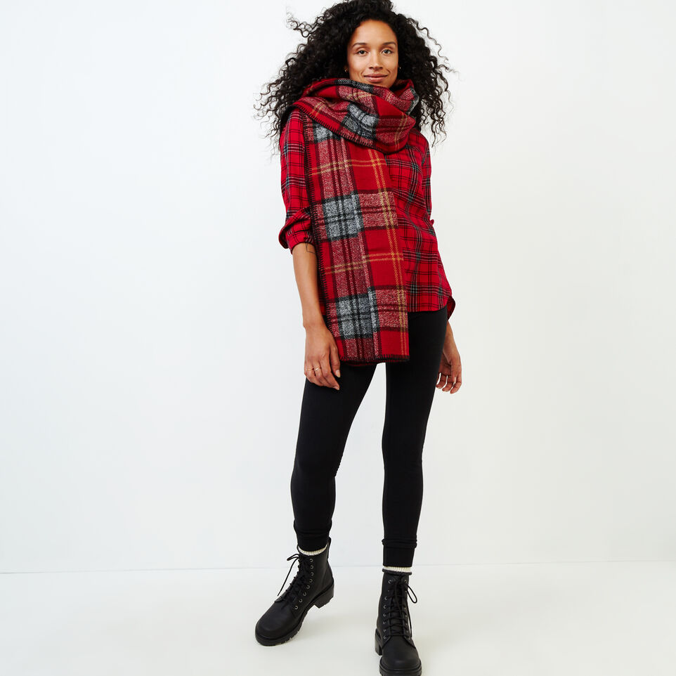 Roots-Women Categories-Relaxed Flannel Shirt-Cabin Red-B