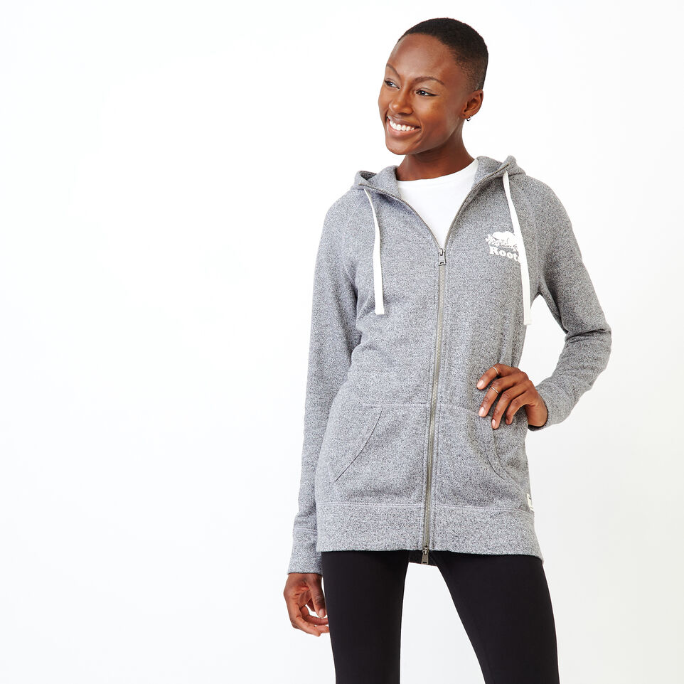Roots-Women Sweats-Capri Full Zip Hoody-Salt & Pepper-A