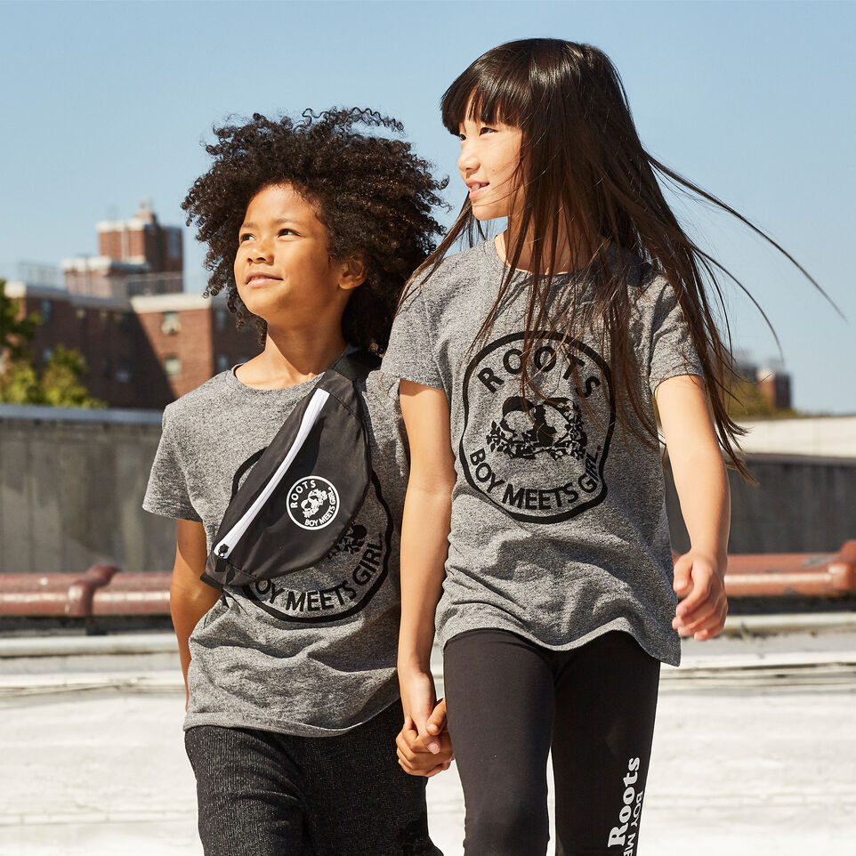 Roots-Kids New Arrivals-Roots x Boy Meets Girl - Kids Unisex United Flocked T-shirt-Salt & Pepper-D