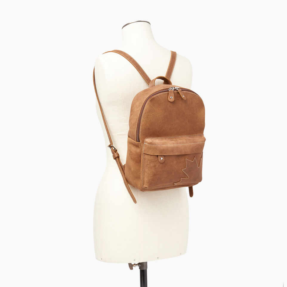 Roots-Leather Backpacks-Trans Canada Backpack-Natural-B