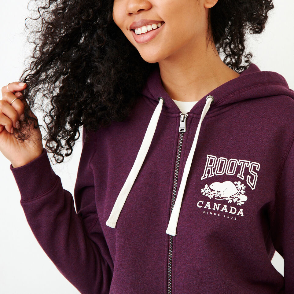 Roots-Women Clothing-Classic Full Zip Hoody-Pickled Beet Mix-E