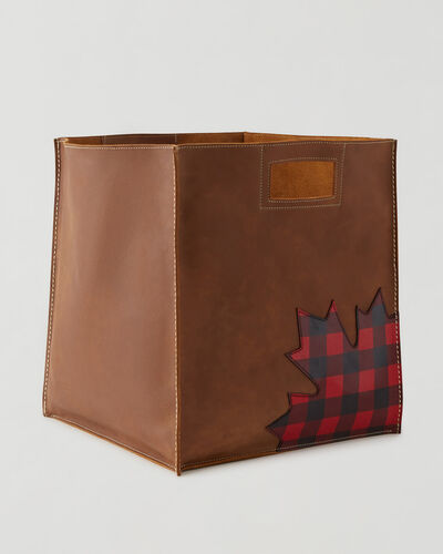 Roots-Leather Leather Accessories-Park Plaid Canada Extra Large Basket-Natural-A