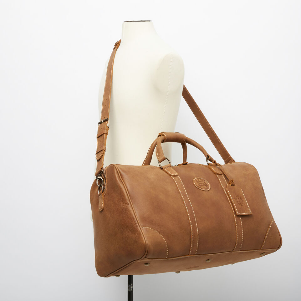 Roots-Leather Weekender Bags-Large Banff Bag-Natural-B