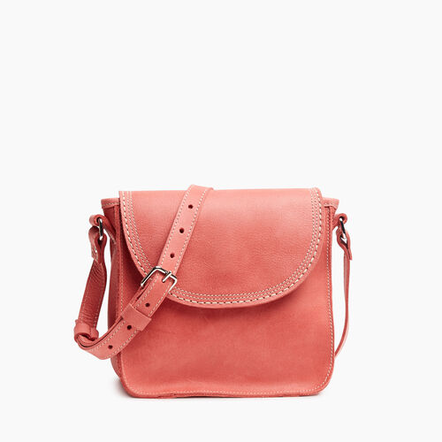 Roots-Leather Handbags-Canmore Crossbody Tribe-Coral-A