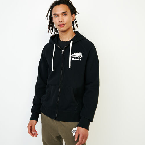 Roots-Men Sweats-Original Full Zip Hoody-Black-A