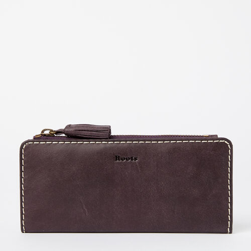 Roots-Women Wallets-Slim Wallet Tribe-Wineberry-A