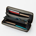 Roots-Leather Wallets-Zip Around Clutch-Black-B
