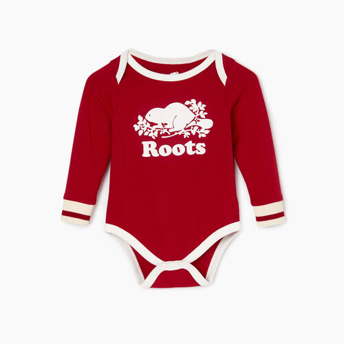 Roots-Kids Baby Girl-Baby Roots Cabin Bodysuit-Cabin Red-