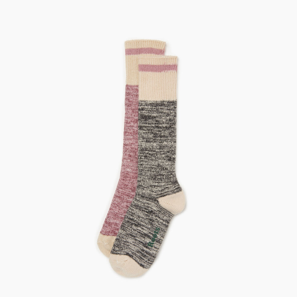 Roots-Women Clothing-Cotton Cabin Sock 2 pack-Mauve-B